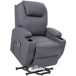 Recliner Chair Power Lift Massage Heating Living Room Sofa Seat Gray