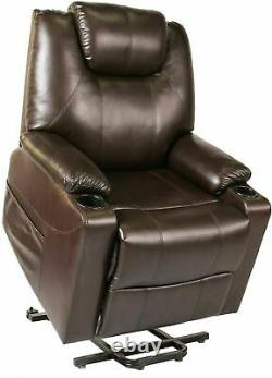 Recliner Chair Power Lift Recliner Chair Sofa PU Leather with Cup Holders