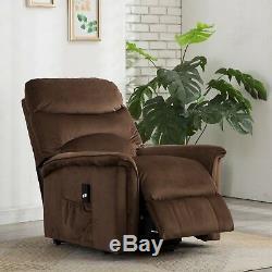 Recliner Chair Power Lift Seat Gentle Motor Velvet Cover Pocket Microfiber Brown