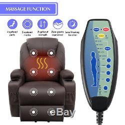 Recliner Electric Heated Chair Sofa Power Massage Brown Lift Vibration Lounge