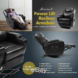 Recliner Power Lift Chair Wall Hugger PU Leather with Remote Control (Brown) SW