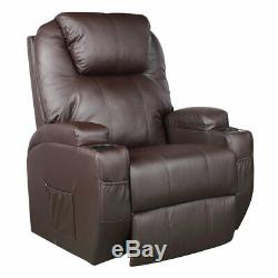 Recliner Power Lift Chair Wall Hugger PU Leather with Remote Control (Brown) WF