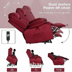 Red Dual Motors Power Lift Recliner Chair with Remote Control Cup Hold Overstuffed