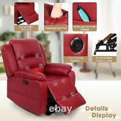 Red Electric Power Lift Recliner Chair Elderly Remote Heat Massage PU Leather