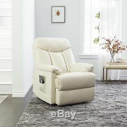 Renu Leather Wall Hugger Power Recliner Lift Chair Living Room CREAM