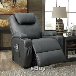 Walnew Power Lift Electric Recliner with Massage and Heating Black Faux Leather
