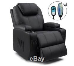 Walnew Power Lift Recliner with Massage and Heat, Black Faux Leather