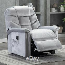 Waterproof Power Lift Recliner Chair Overstuffed Suede Sofa with RC for Elderly