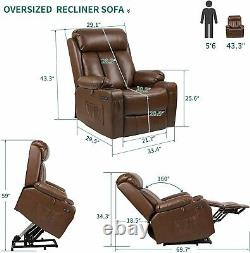 YITAHOME Auto Electric Power Lift Massage Chair Leather Recliner Heat Vibration