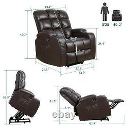 YITAHOME Leather Auto Electric Power Lift Massage Recliner Chair Remote Brown