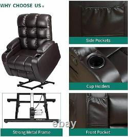 YITAHOME Power Lift Leather Recliner Chair Massage Couch For Elderly Living Room