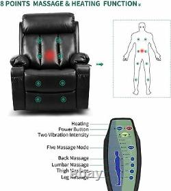 YITAHOME Power Lift PU Recliner Sofa Massage Chair Heat Single Couch For Elderly