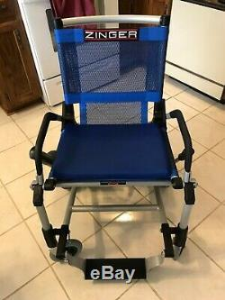 Zinger Powered Chair, blue, 3 speeds, 47 lbs, folds in one step, lift in car